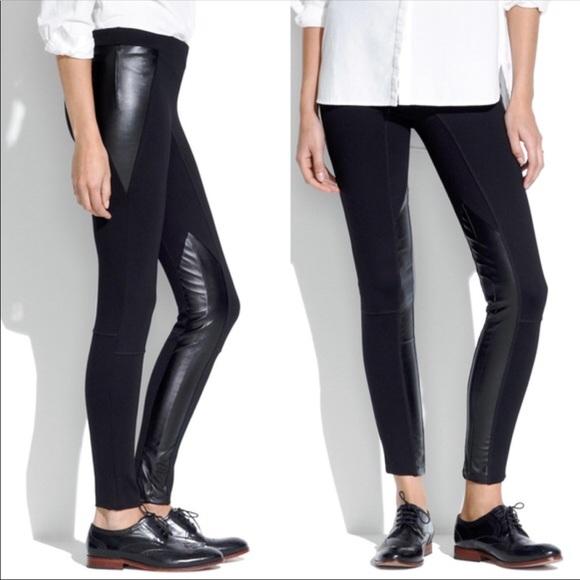 f7fcf9b447cf1 Madewell Pants - Madewell Black ponte faux leather leggings pants 2